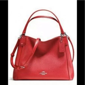 Coach Edie shoulder hand bag purse leather red